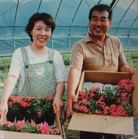 A couple in a greenhouse pose with boxes of flowers